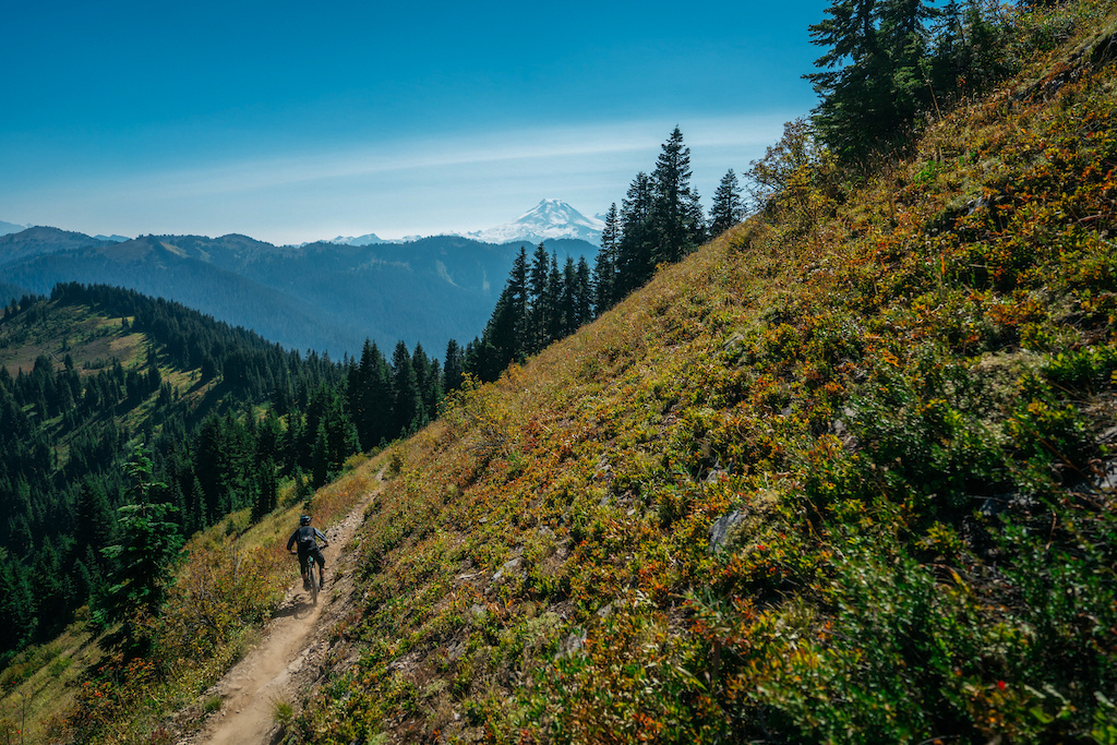 Skye Schillhammer riding in the high alpine of the Cascades.