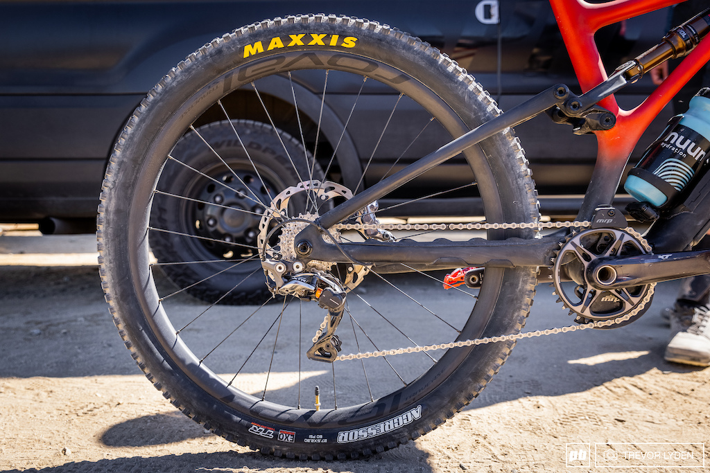 Cody is running an XTR derailleur with a 10-speed road cassette. Up front is a Shimano 36 tooth ring.