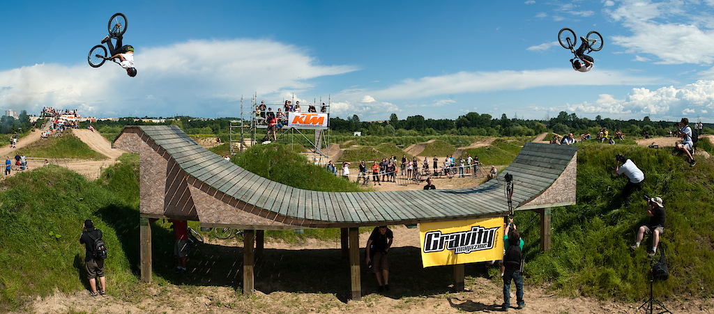 Backflip/frontflip sequence at the wooden bowl during Lublin Off The Track contest in Poland, 2010
