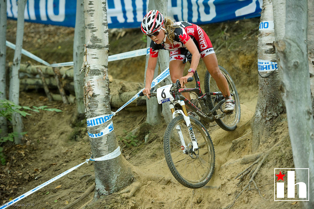 Emily Batty racing on Trek in the U23 category at the Mont-Sainte-Anne World Championships in 2010.