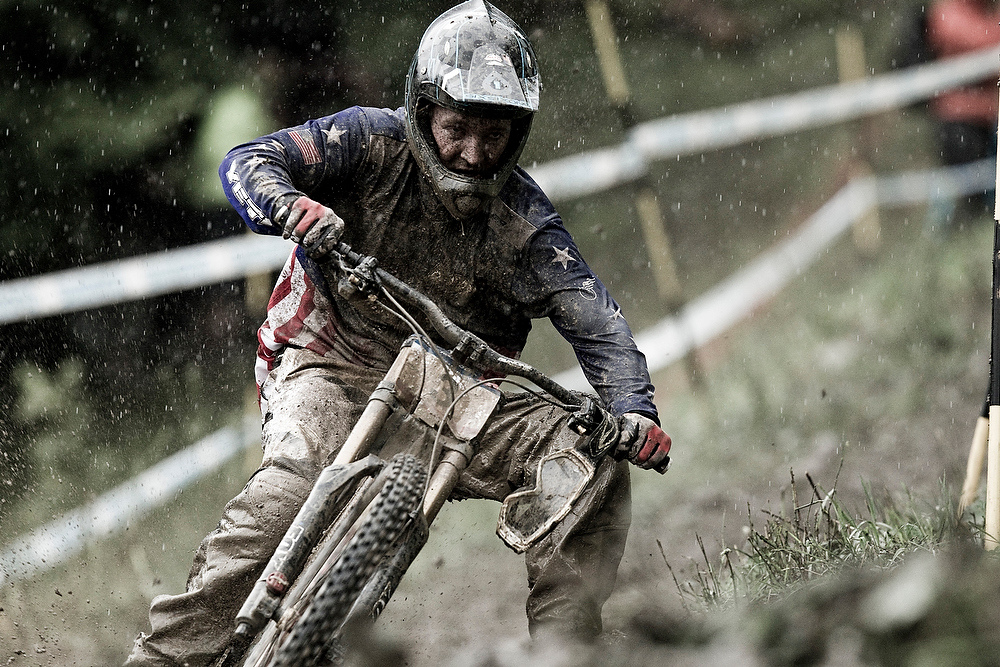 Aaron Gwin during the Champery World Cup in 2010. This shot says it all. World Cups are tough and it takes a special breed to persevere.