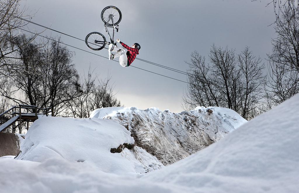 Flip Whip Winter tesr riding on KROSS prototype frame