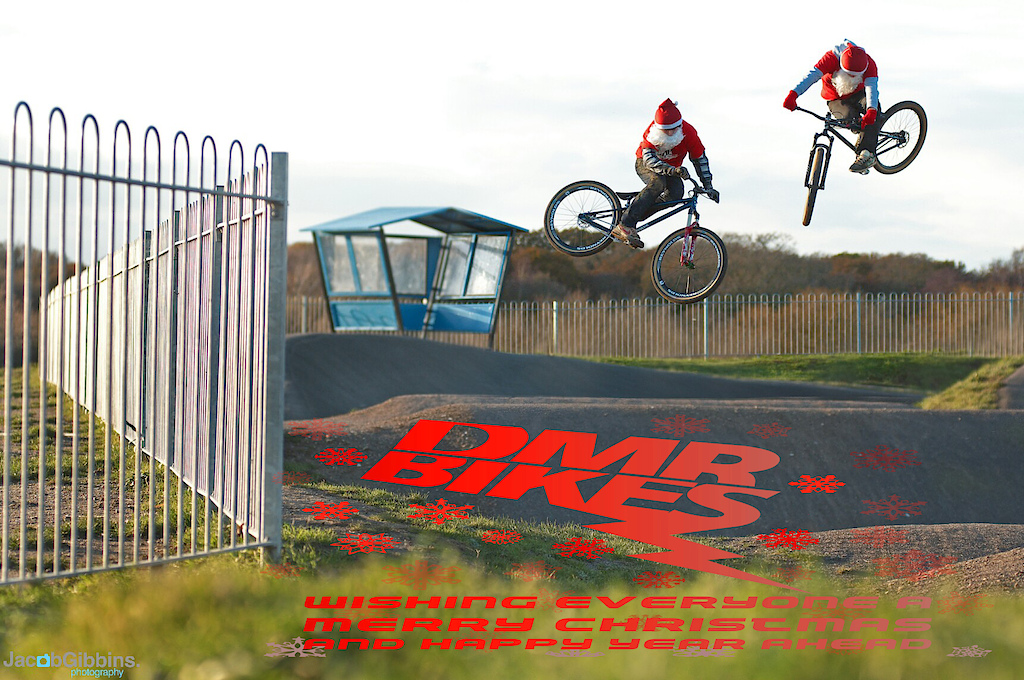 Shot of Sam Reynolds and Olly Wilkins riding at a BMX track in santa outfits for the DMR Xmas vid which is online now  www.JacobGibbins.co.uk
