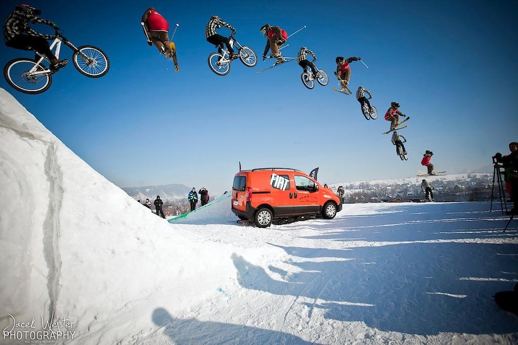 fly on big air jump - 18 meters of gap photo by Jacek Wejster