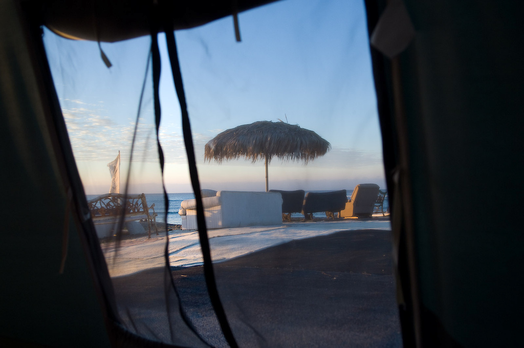 The accommodations at the camp are in tents. Not a bad deal in Mexico, this was the view from my tent every morning. It made waking up easy, even after a lot of drinks the night before...