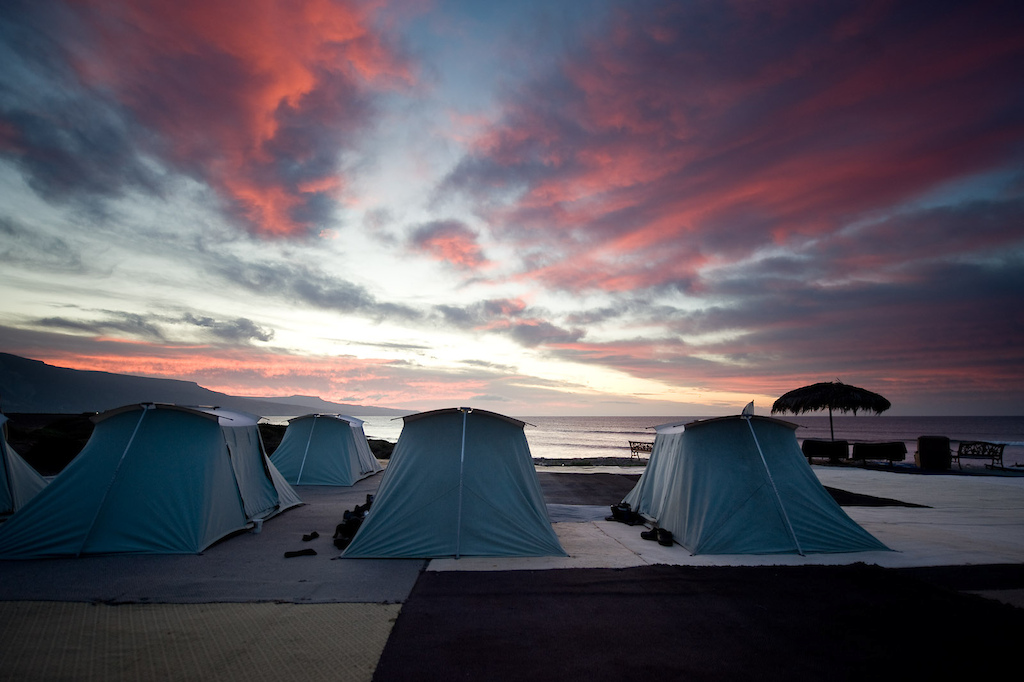 Sunrise over the tents in the morning. In order to shoot in that epic first light you need to get up early.