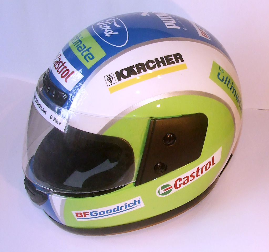 go-kart helmet inspired by Ford WRC, no vinyl stickers , all painted