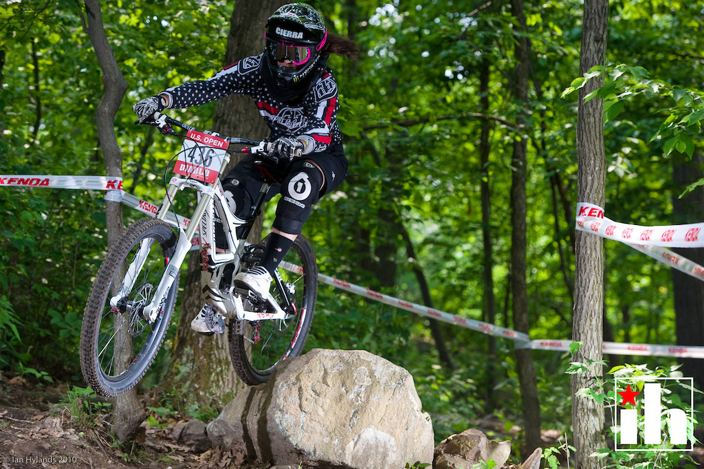 Cierra Smith races during qulifying at the US Open of Mountain Biking at Diable Freeride Park at Mountain Creek Resort in Vernon, NJ