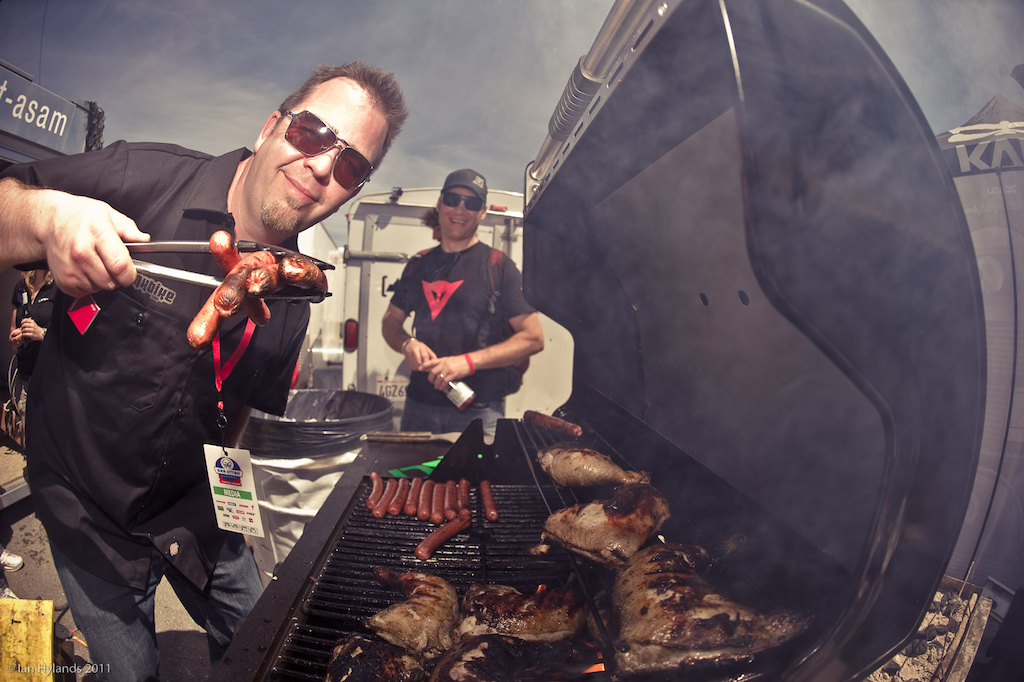 Pinkbike's Julian Coffey serving up the meat at the 2011 Sea Otter Classic