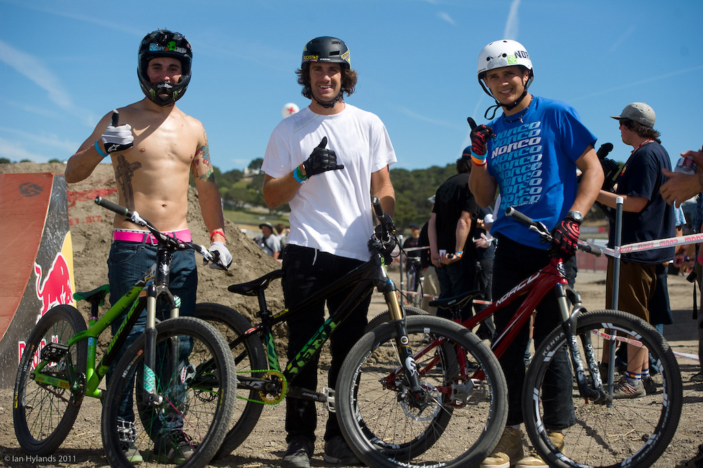 Mike Montgomery, Cam McCaul and Sam Dueck at the 2011 Sea Otter Jump Jam and Best Whip contest. Top 3, Cam won...