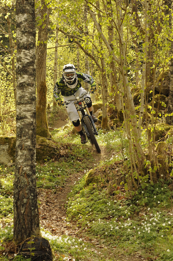Downilltraining at home in the woods that are getting greener every day.  Photo: Magnus Schmidt