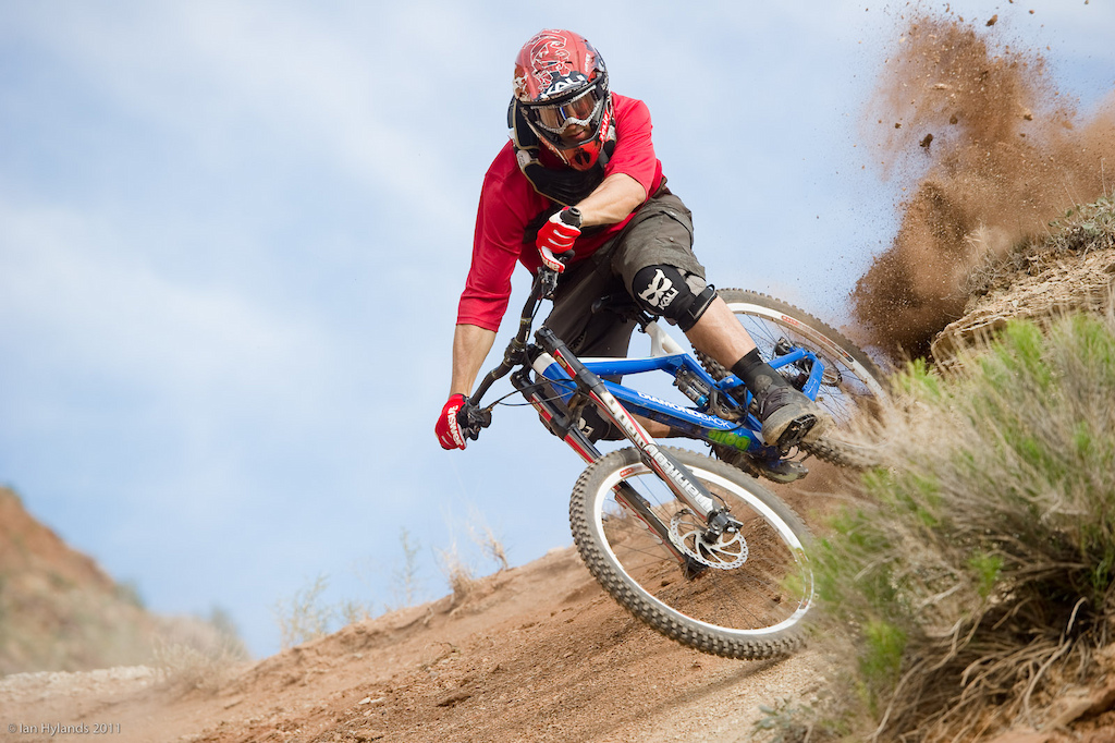 Eric Porter tears a hole in a corner on the Grafton Mesa Trail.