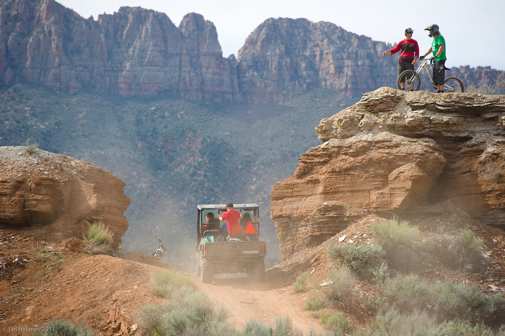 The logistics of managing 4 riders plus photographers and gear becomes a lot easier if you can shuttle to and from locations. Thankfully Justin Olsen brought his Polaris Ranger to make the job just a little bit easier. It's all part of the package...