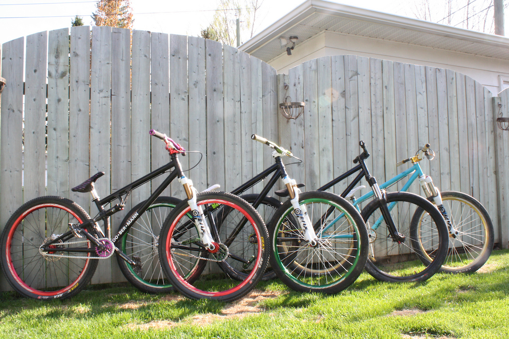 My Bikes. Selling one soon. Dob Le' Pink, Ns Traffic, Dob Pinscher, and Specialized/Blk Mrkt Riot.