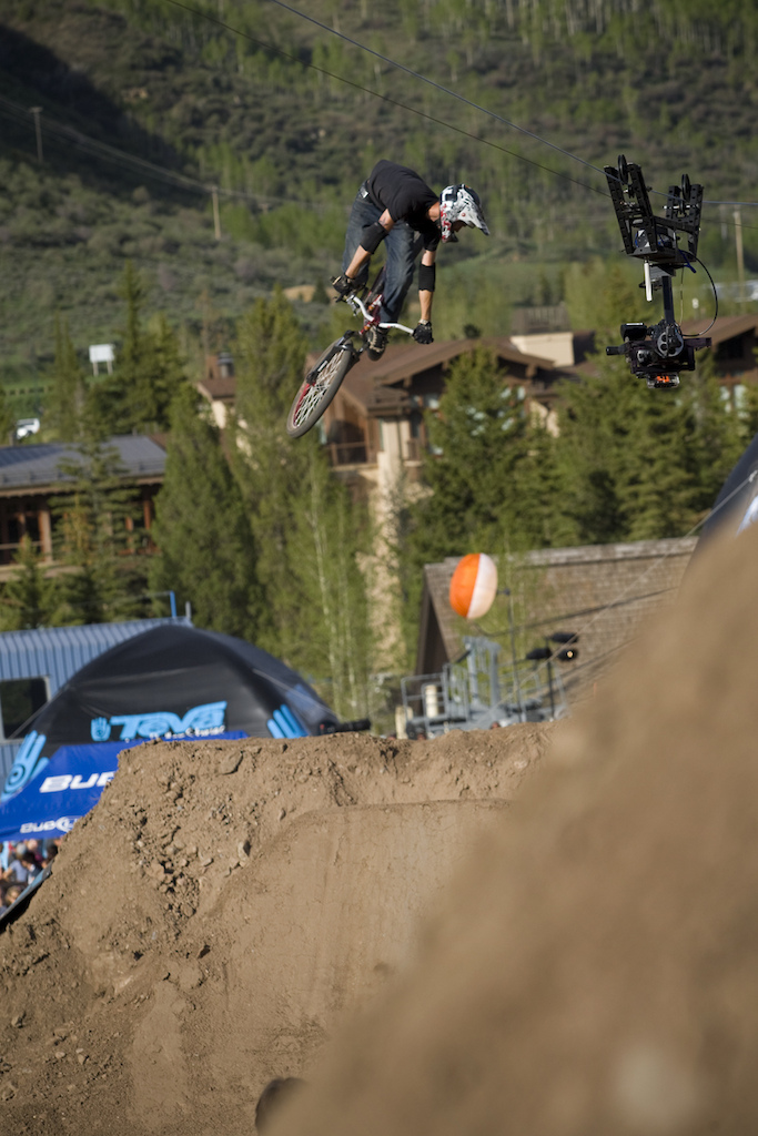 The cable cam was just barely out of the way in time for me to catch this shot of Mike Kent's 360.