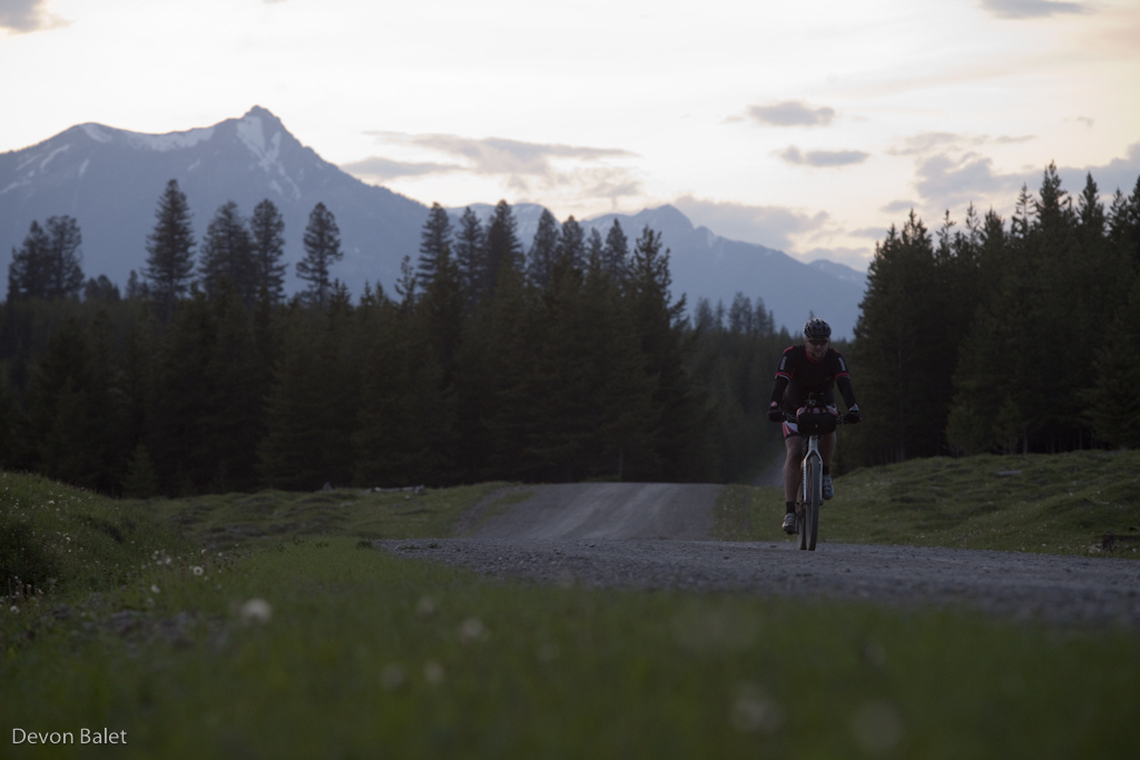 Fading sun on day one of TDR. Rider makes his way towards Fernie BC.