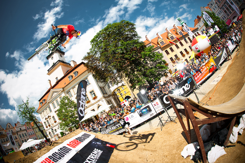 "Szymon ""Szaman"" Godziek with his green Cody took great 2nd place during next FMB World Tour contest - Dirt Town in Poland. First place went to Sam Pilgrim. Photo by Kuba Konwent http://konwent.fotolog.pl. http://dartmoor-bikes.com"