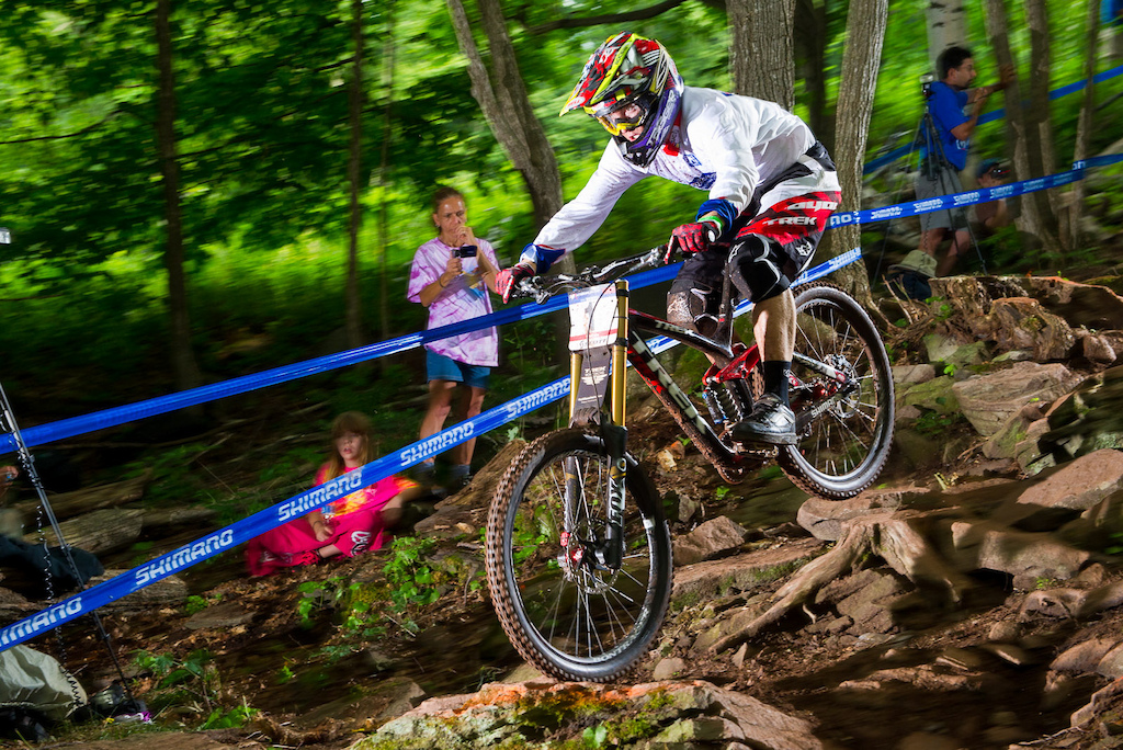 Aaron Gwin took a quick inside line in the rock garden--one of only a handful of riders to do so. But that--and whatever other lines he took--were obviously the lines as he qualified nearly six seconds up on Gee Atherton the second fastest qualifier.