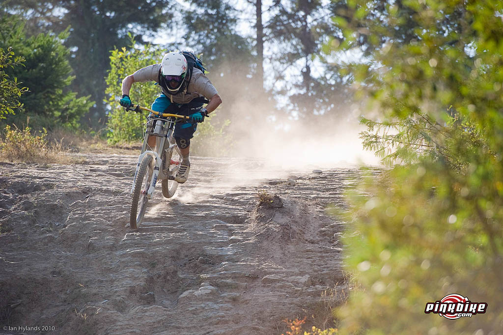 Andrew Shandro riding at Whistler on a prototype Trek Session 9.9