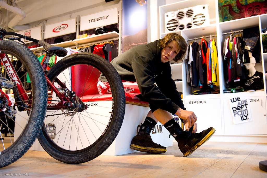 Brandon Semenuk getting dressed for a day in the park.
