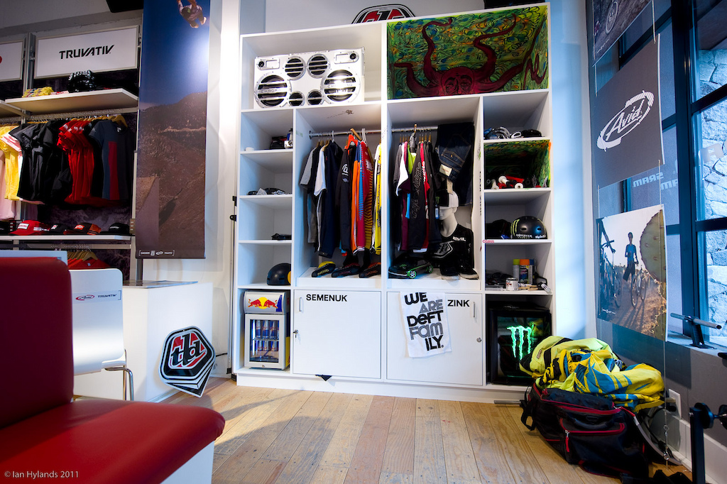 Cam Zink and Brandon Semenuk have their lockers for Crankworx in the SRAM pop up store