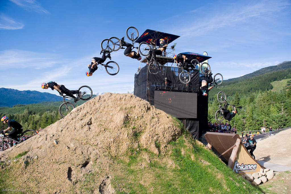 Andreu Lacondeguy jumps during the Red Bull Joyride event in Whistler BC on July 23, 2011