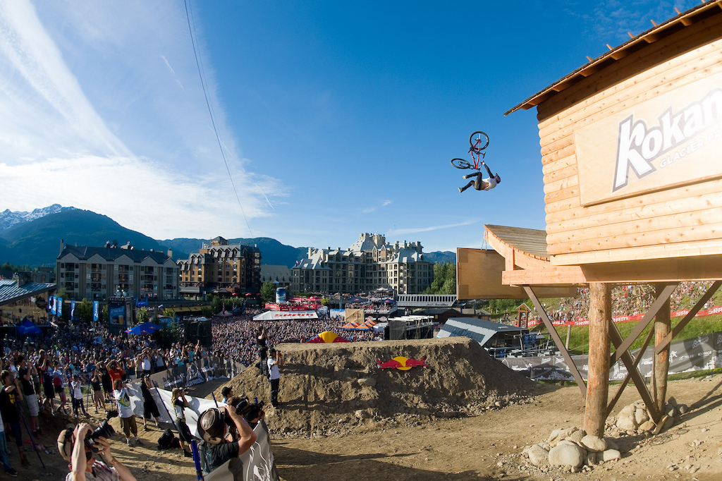 Brandon Semenuk jumps during the Red Bull Joyride event in Whistler BC on July 23 2011
