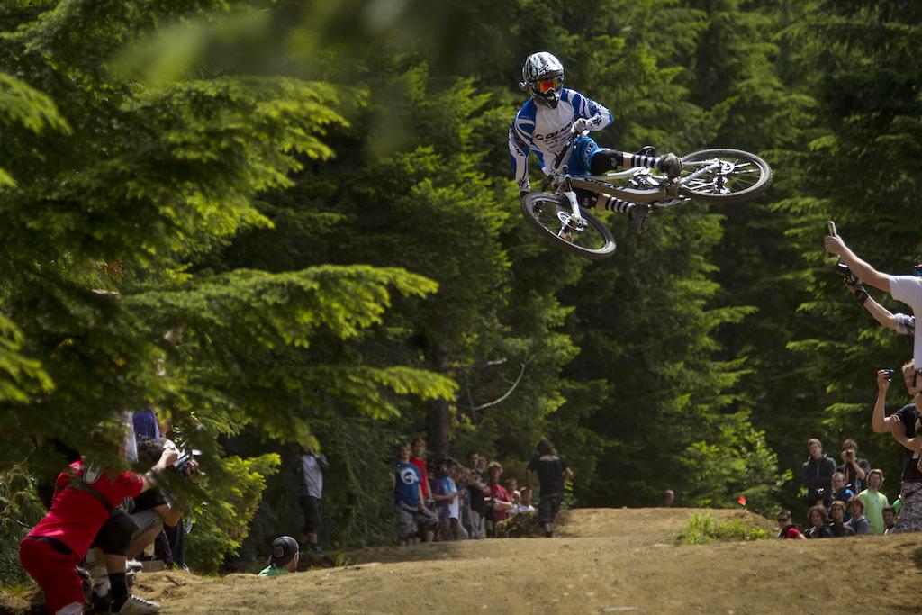 whip contest on crabapple hits, whistler bike park, during crankworx 2011.