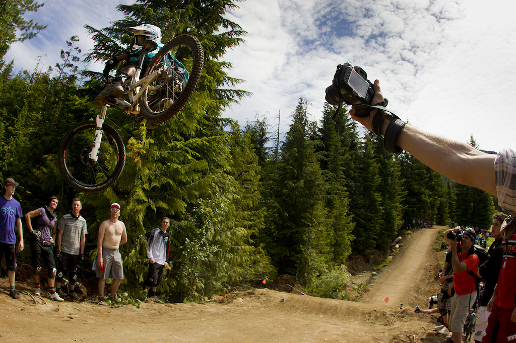 whip contest on crabapple hits, whistler bike park, during crankworx 2011.