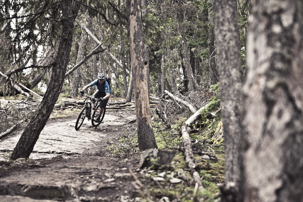 Mike Levy riding the Superfly 100 on the Lost Lake trails. Photo by Adrian Marcoux.