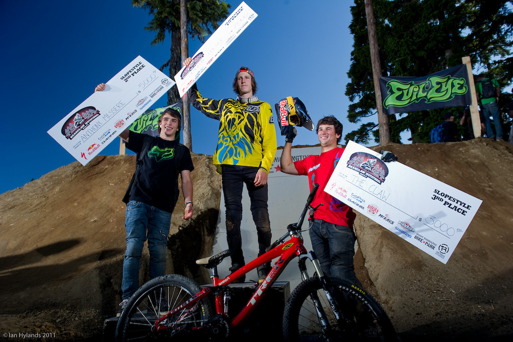 The Podium, left to right, Anthony Messere 2nd, Brandon Semenuk 1st, Darren Berrecloth 3rd.