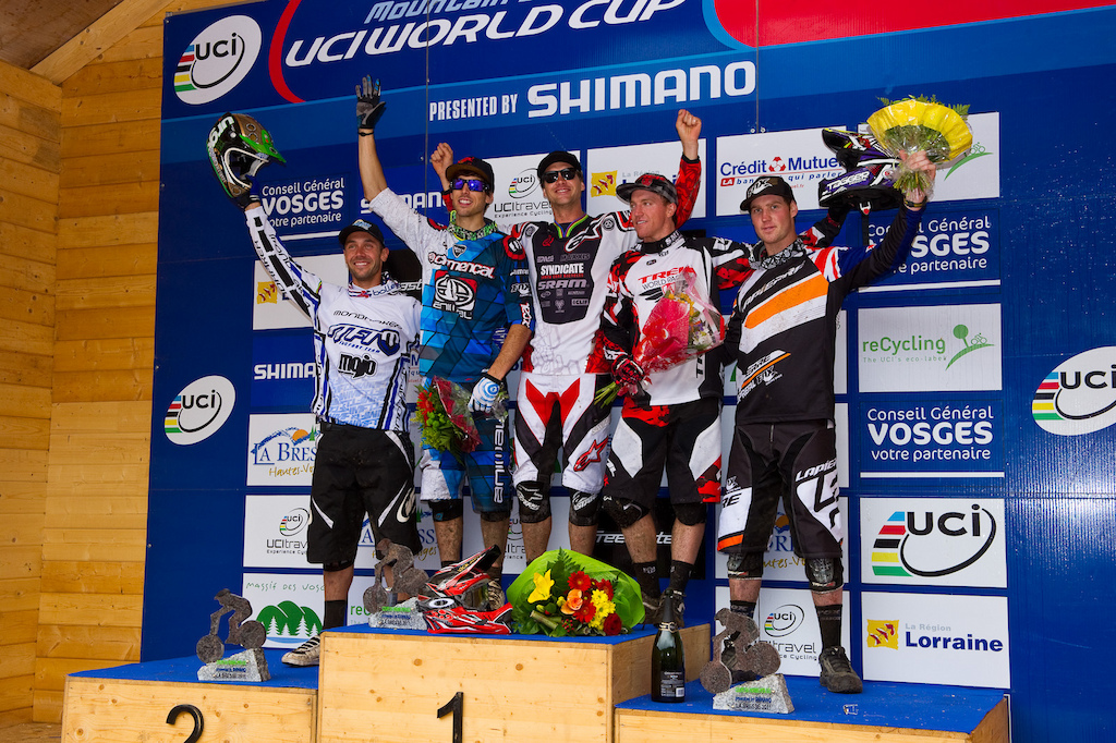 The Men s Elite Podium L-R Barel 4 Gee Atherton 2 . Minnaar 1 Gwin 3 and Cameron Cole 5 .