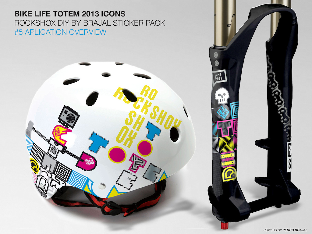 Hi everyone this is my idea for sticker and product mood for the Totem fork. It s based on creating your own totems with actual bike life stuff. The possibilities are infinite and modular and you can choose between two kinds of color scheme colorful or black silver on your fork. they are all pre cut individually of course you choose the objects Hope you enjoy. Colors PMS - Cyan PMS - Magenta PMS - Yellow PMS - Black PMS - 877 silver White as supplied on the original file.
