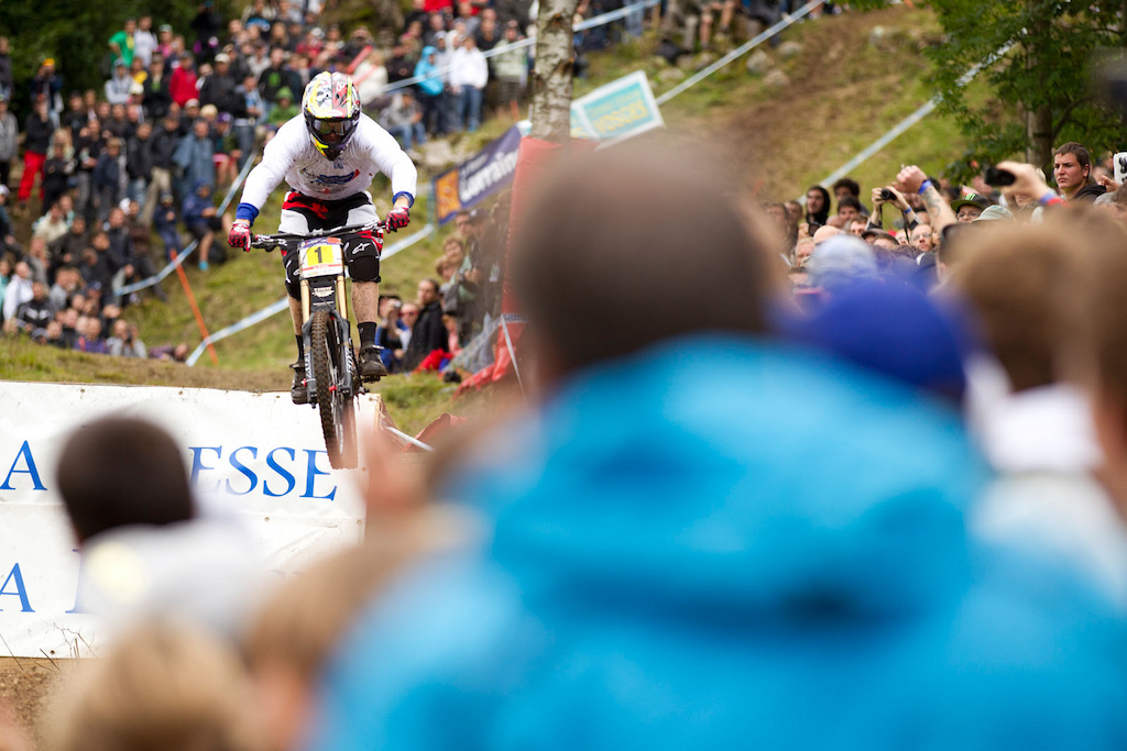 LA BRESSE FRANCE 7 August 2011 Aaron Gwin of Trek World Racing during the 6th round of the UCI World Cup Downhill in La Bresse France. Photo by Gary Perkin