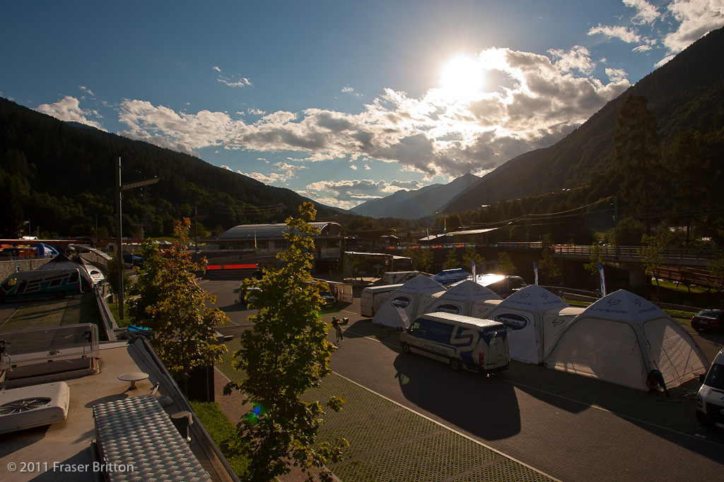 Tuesday evening a large amount of teams had already moved in and setup. Val Di Sole living up to to its name.