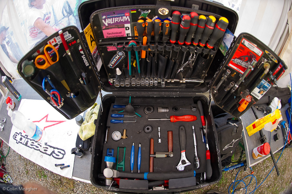 The neatest tool box on the circuit. Any guesses as to who owns this meticulous piece of work