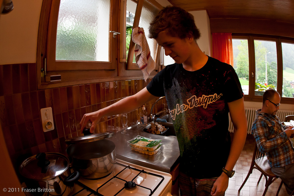 First year away from home and the junior shredder has no problem making dinner for the entire Monster Specialized team.