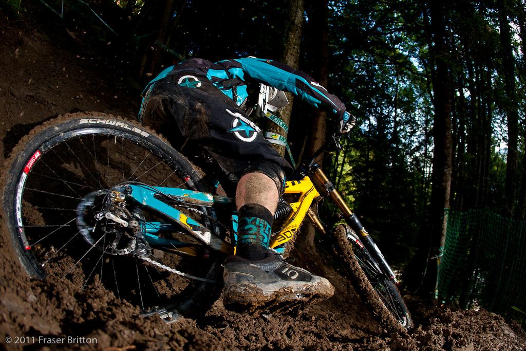 Makin the mud fly... Brendan Yrttiaho gets a bit wild his firs run of the day.