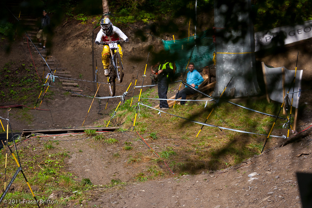Emilie Signethaler was one of the only women to jump all 3 of the booters this morning in the grease no less. Rachel Atherton laughedand only had one thing to say after hearing about it... Oh great.