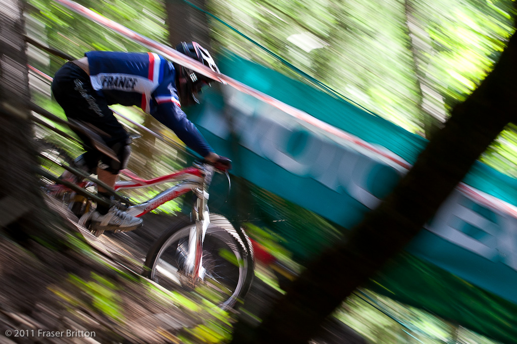 Just a quick glimpse of French junior through the trees.