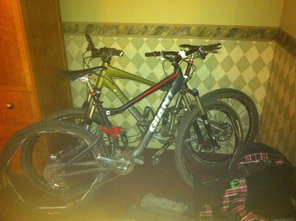 The hotel was totally cool with us bringing the bikes in to the room!!