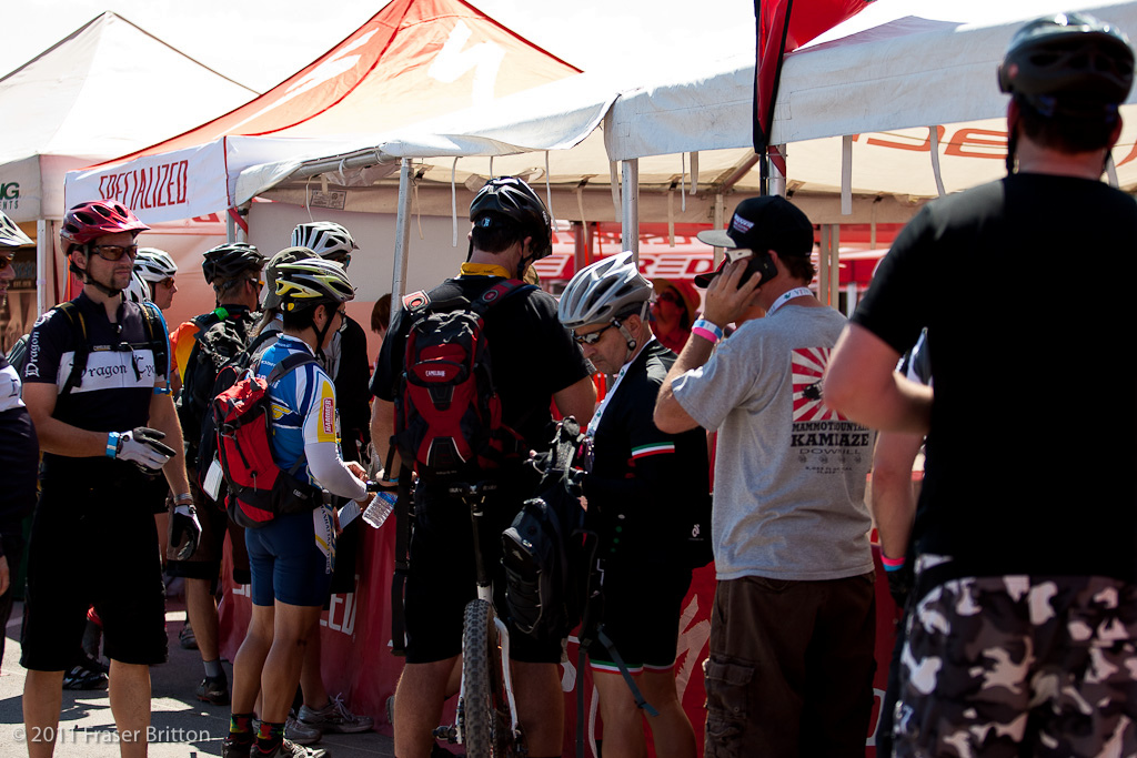 The lines to ride bikes were LONG but no one was complaining. Specialized has a massive red and white village of tents and support vehicles here. Carbon 26 full suspension downhill - take your pick and go for a shred