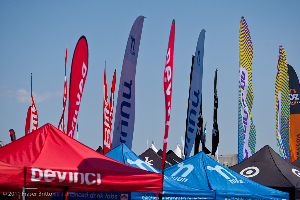 Flag City. Banner must be the in vogue booth item this year. They come in all shapes and sizes and are flying all over boulder city. It looks like an airborne kayak course.