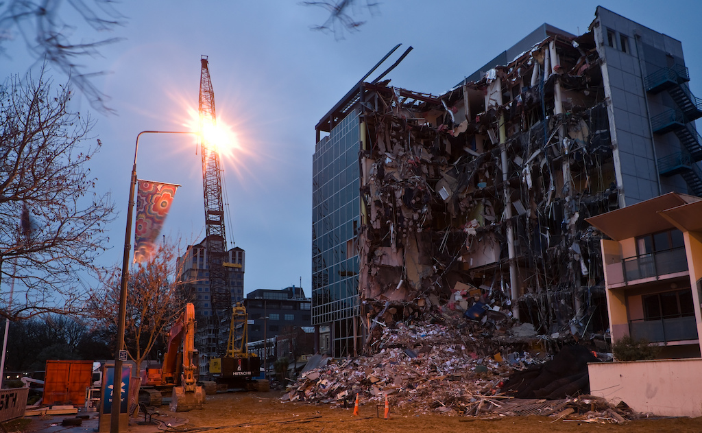 Damage after the Christchurch earthquake, photo by Ivan Woods.