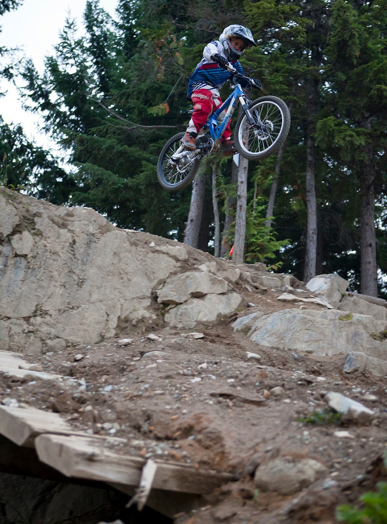 Jackson fearlessly hucking the GLC drop at age 7