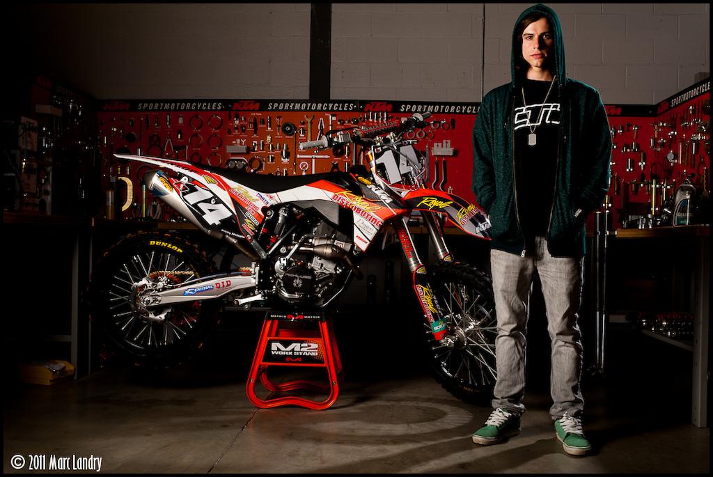 2011 Montreal Supercross winner Jeremy Medaglia at team shoot for KTM Canada.
