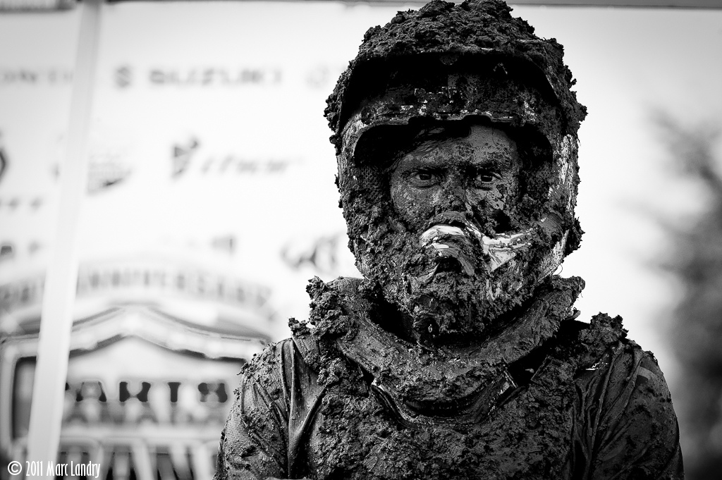 Two time Canadian MX2 champ Tyler Medaglia after mudfest at 2011 CMRC Pro Nationals.