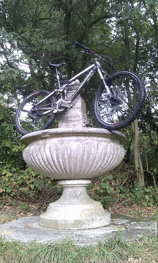 my Devinci taking a bath in a local fountain