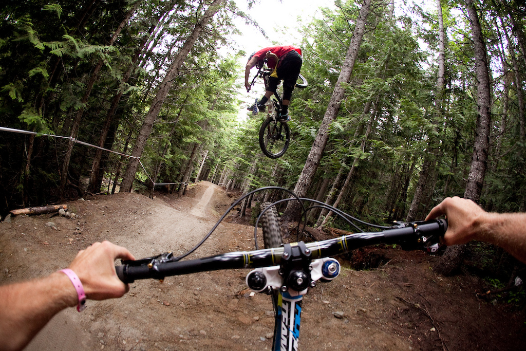 R-Dog and AT riding A-line in Whistler. Photo of the Year submission.  Justin Olsen Deep Summer 2011