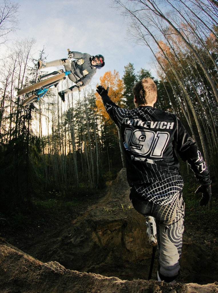 Latvian Dartmoor rider Maris Ornins with his Shine watched by his moto-x friend Nicky Platkevich. Photo by Kaspars Alksnis http://kasparsalksnis.com